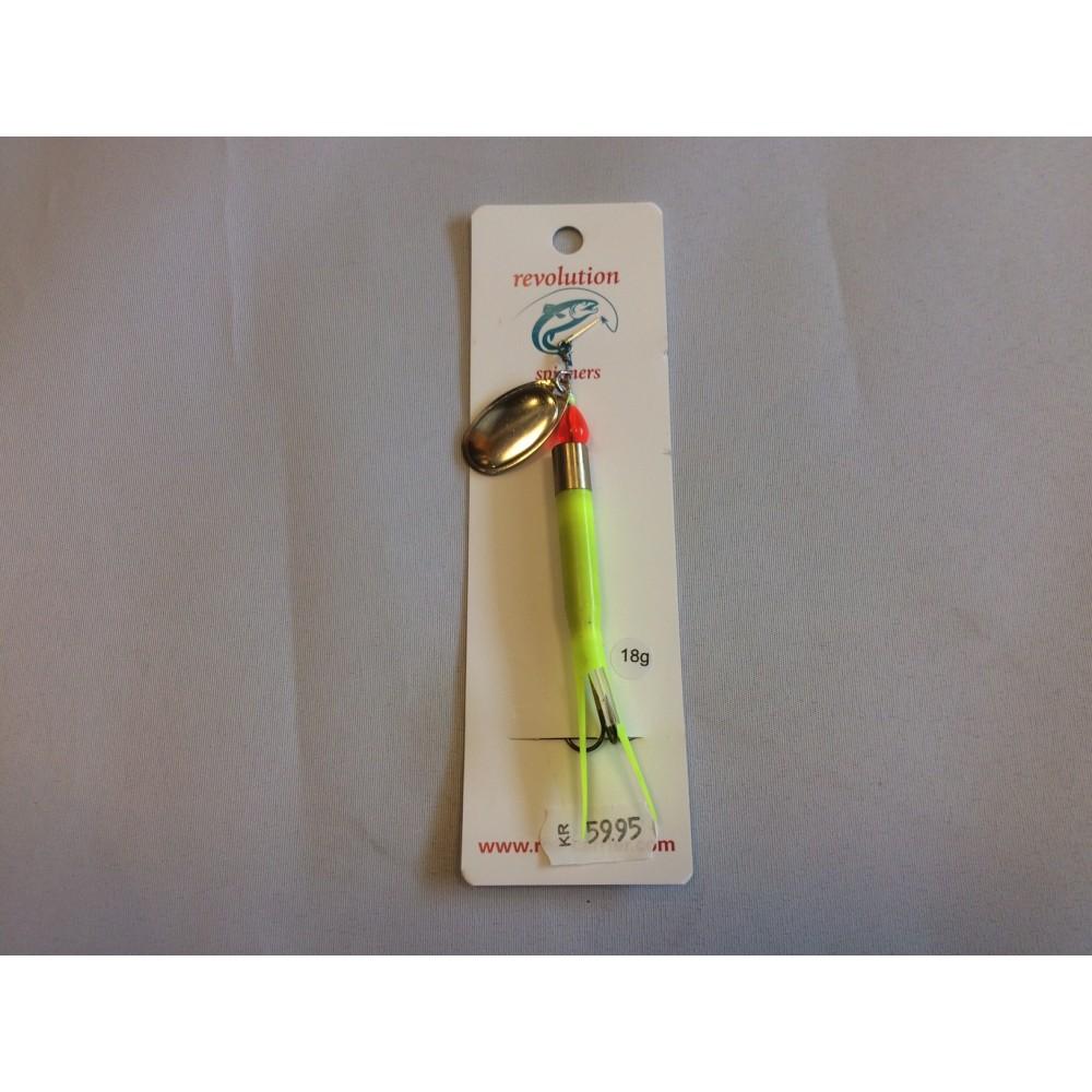 Revolution Kondom-spinner Fluo-gul m/sølvblad 18 gr.