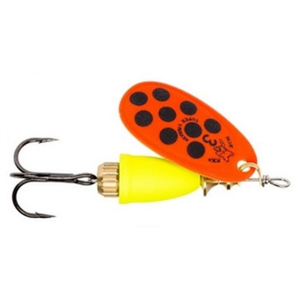 Vibrax Mid Depth Blue Fox Hot Orange / Sort Super Spinner - Str. 3