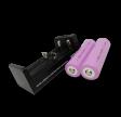 Oplader + 2 stk genopladelige 18650 lithium batterier